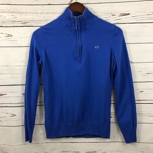 Vineyard Vines blue half zip pullover sweater S